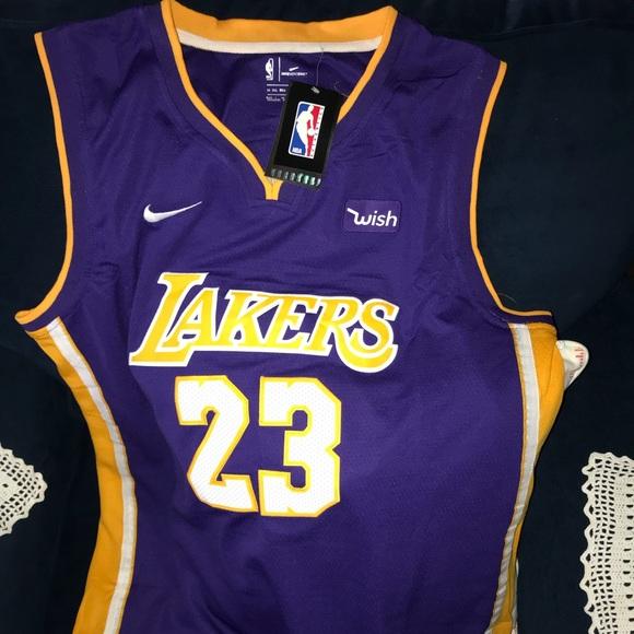 fabd59b09f5 Nike Shirts | Nwt Stitched Lebron James Laker Jersey | Poshmark